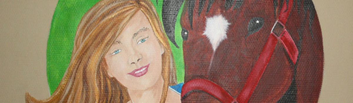Muurschildering meisje met paard