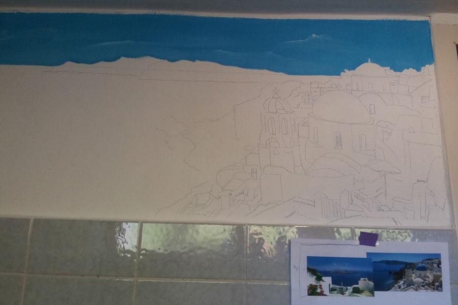 Schets voor muurschildering