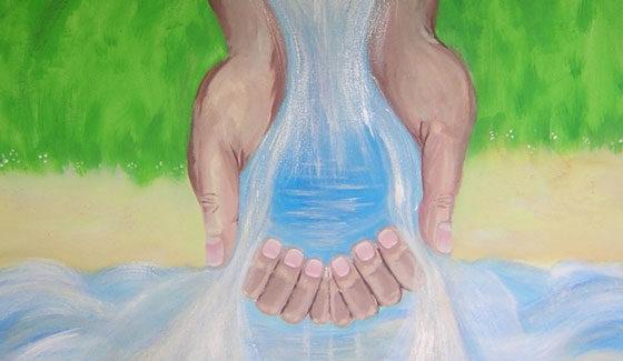 Schilderij Fontein van Levend water